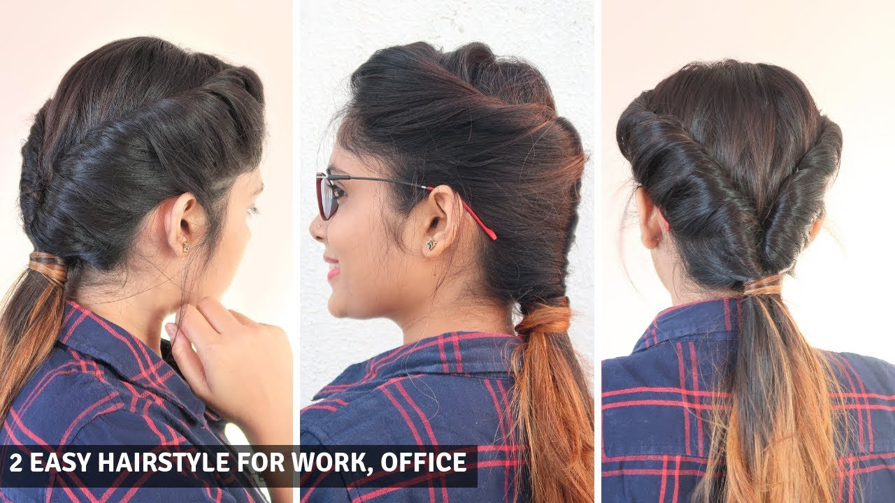 12 Easy Hairstyle For Office , Work ,Collage / Low Twisted Ponytail Hairstyle