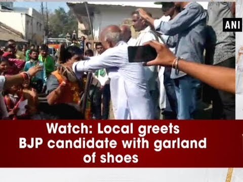 Watch: Local greets BJP candidate with garland of shoes - Madhya Pradesh News