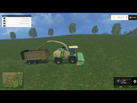 Farming Simulator 15 - How To Quickly Cut The Grass Into Silage With Krone Big X 1100