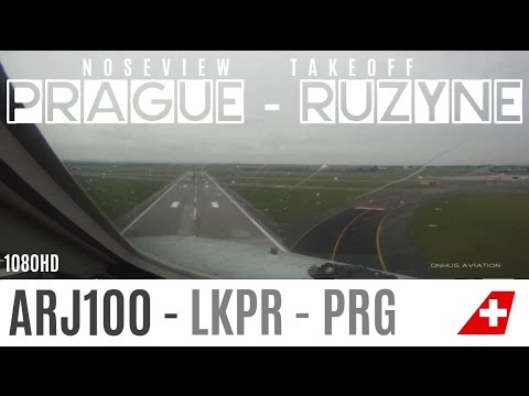 BAD WEATHER, STRONG WINDS ARJ-100 Cockpit Takeoff in Prague