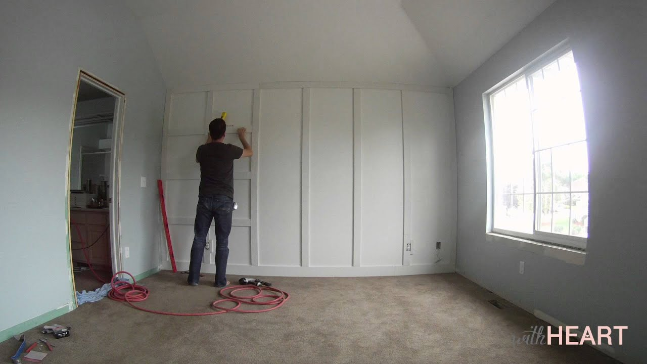 Diy board and batten wall withheart youtube Mobile home interior wall paneling