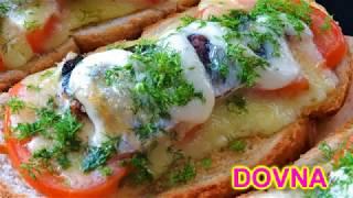 Горячие бутерброды со шпротами, помидором и сыром. Рецепт от Dovna Enterprises