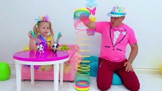 Nastya brinca com fotos mágicas, histórias engraçadas de brinquedos mágicos