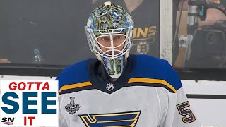 GOTTA SEE  T Blues Jordan Binnington Stands On His Head To Keep Bruins Out  N First Period