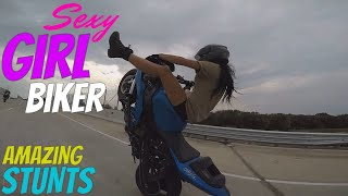 Beautiful Girl Biker Performs AMAZING Highway Motorcycle Stunts Riding Long Stunt Bike Wheelies