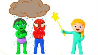 LITTLE PRINCESS & THE RAINY CLOUD ❤ SUPERHERO PLAY DOH CARTOONS FOR KIDS