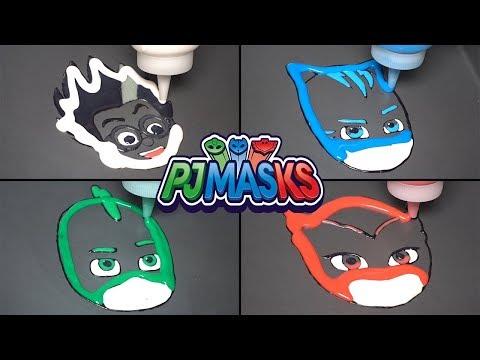 PJ Masks Pancake Art - ROMEO, CATBOY, OWLETTE, GEKKO / Satisfying Video For Kids