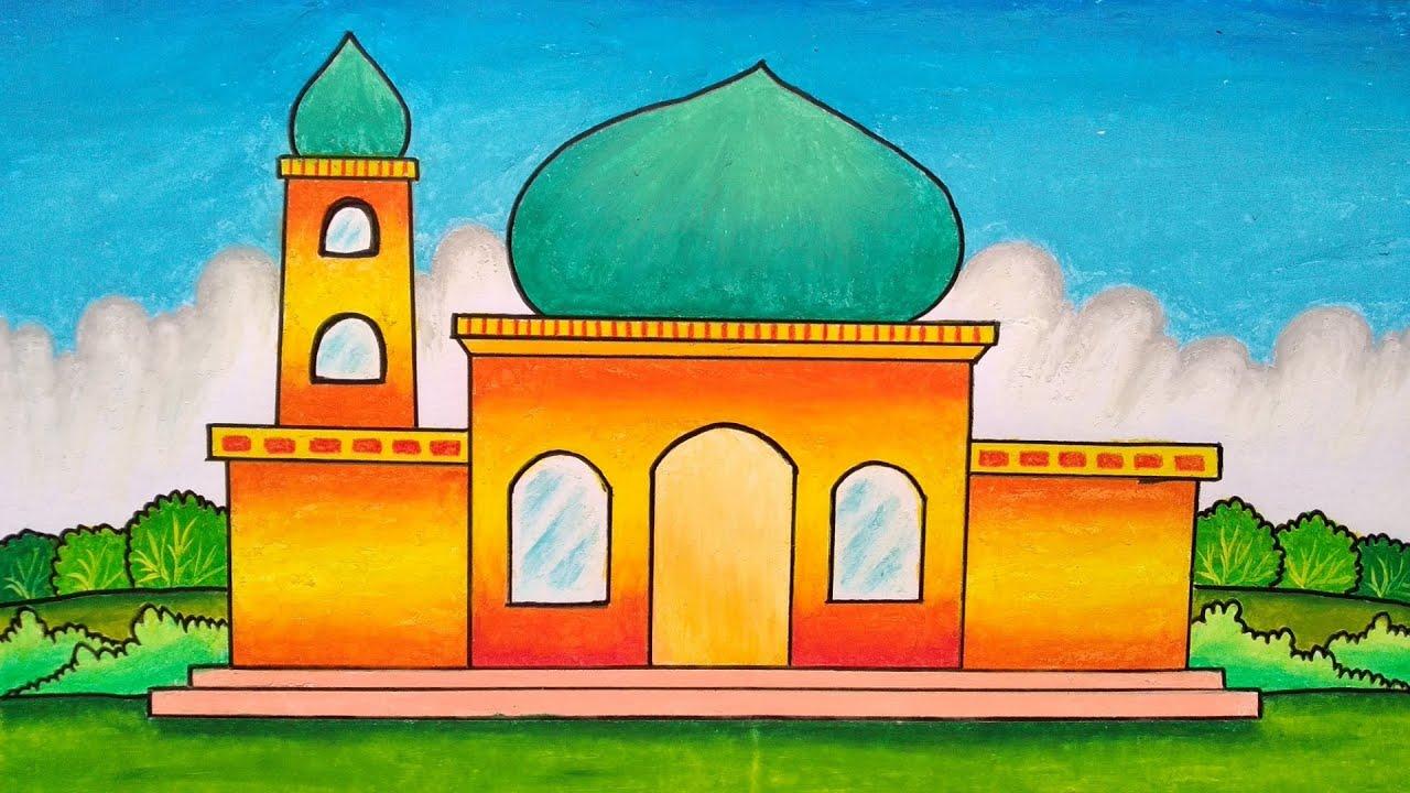 Cara menggambar masjid || Belajar menggambar dan mewarnai masjid
