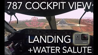 GO PRO Landing & Water Salute From COCKPIT ! Royal Air Maroc Boeing 787 Dreamliner Landing at Dakar.