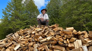 Log Cabin Build (Circa 1700s) Part 19 - Firewood, Windows and Chinking | Self Reliance | Bushcraft