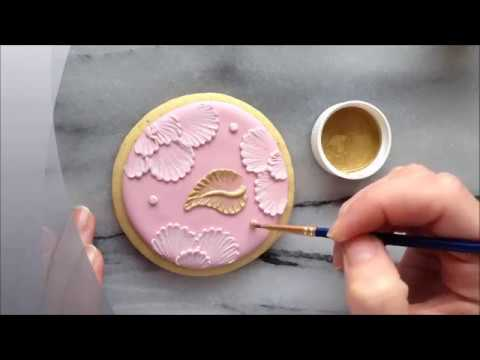 How To Paint With Luster Dust On Brush Embroidered Sugar Cookies