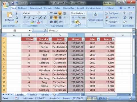 Tabellen Erstellen in MS Excel - Excellernen.de - YouTube