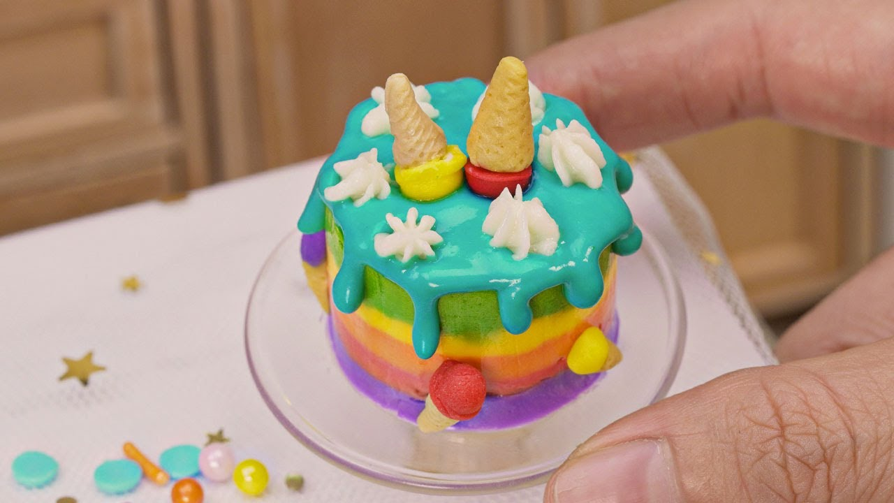 Satisfying Miniature Rainbow Cake For Occasion | Perfect Miniature Cake Design by Tiny Cakes