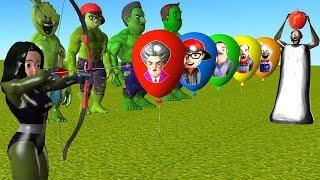 Scary Teacher 3D - Sнe Hulk Archery with Apple put On Head Granny | More Nick Hulk, Ice Scream 4