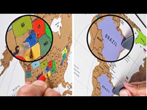 AWESOME Scratch Off World Map Travel Poster Review / Unboxing