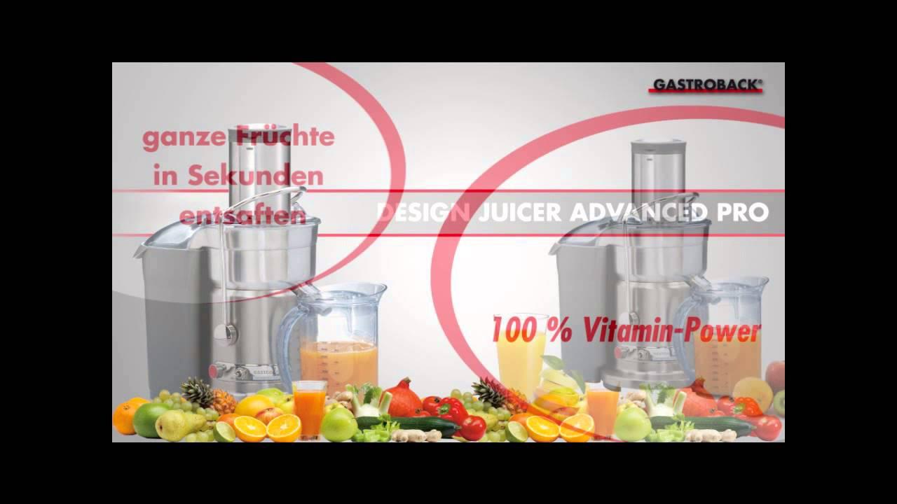 gastroback juicer advanced pro juicemaskine  youtube ~ Entsafter Coop