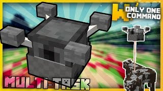 minecraft: MULTITASK DRONES With Only Two Command Blocks (They dig, explode and more!)