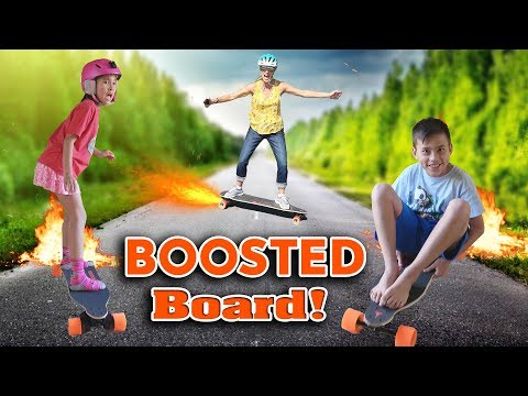KIDS GET BOOSTED!!! Electric Skateboard in the House! Boosted Board 2 Dual+