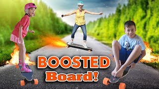 KIDS GET BOOSTED!!! Electric Skateboard in the House! thumbnail