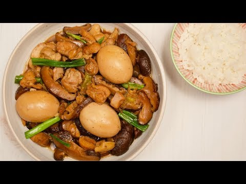easy-chinese-braised-chicken,-eggs-and-mushrooms-|-every-grain-of-rice
