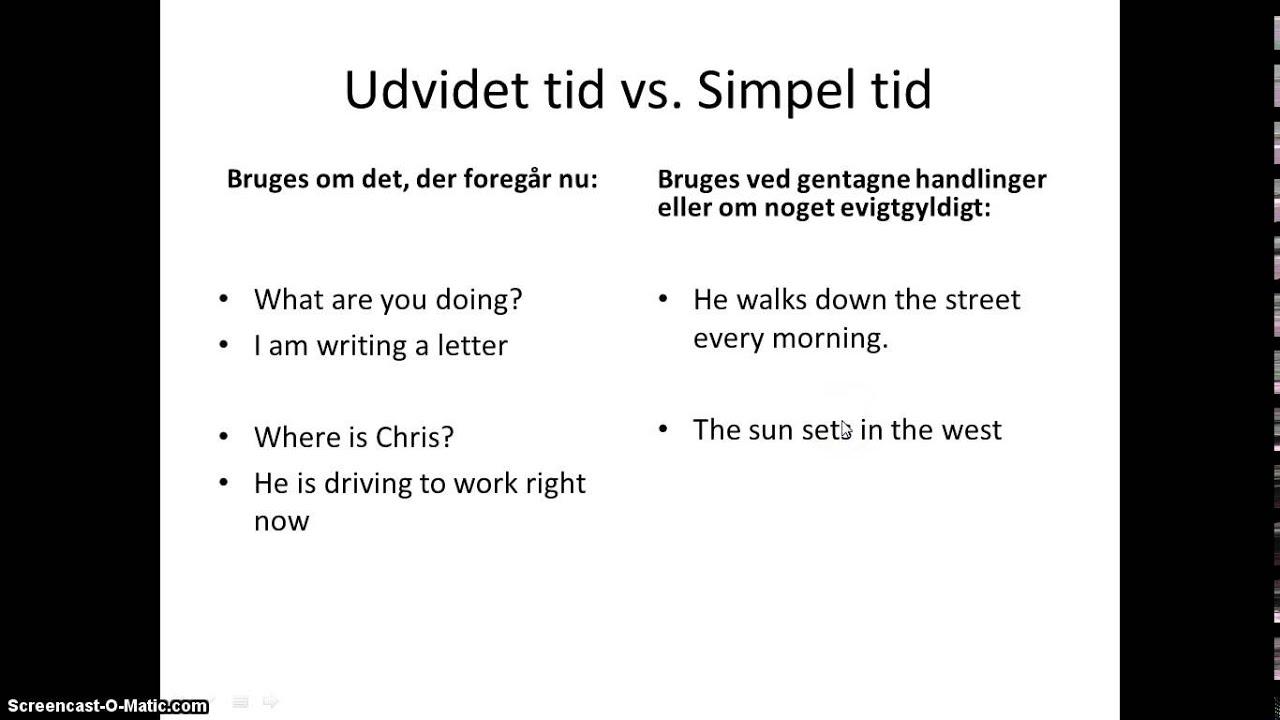 Udvidet tid vs simpel tid 1