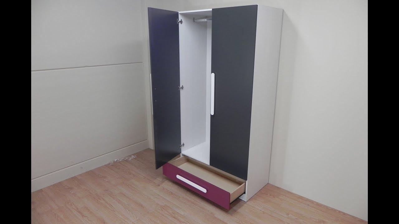 Armario 2 puertas con caj n para habitaciones juveniles for Puertas de madera habitaciones