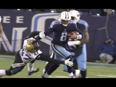 I saw people here posting stiff arm clips, so here's one by Marcus Mariota in Week 17 of the 2017 season to send the titans to the playoffs for the first time since 2008.