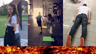THE FLOOR IS LAVA CHALLENGE IN PUBLIC!! - Crazy Family Moments