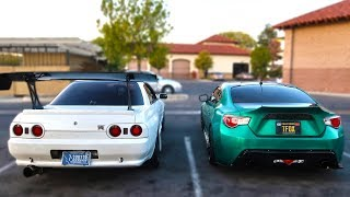 500HP SKYLINE GTR vs BOOSTED FRS!! *intense street race*