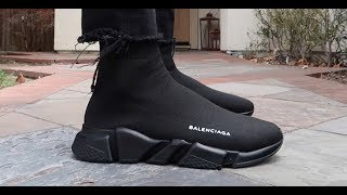 TRIPLE BLACK BALENCIAGA SPEED TRAINER UNBOXING + REALEST ON FOOT ON YOUTUBE!
