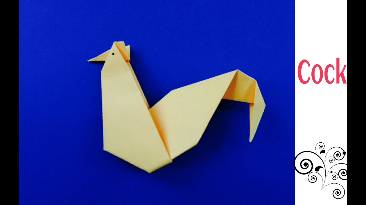 Origami Paper Cock Hen Rooster