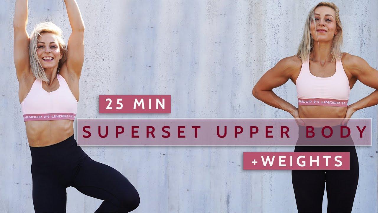 25 MIN UPPER BODY | Superset Dumbbells & Bodyweight Dropset | Strength & HIIT | No Repeat | Sweaty