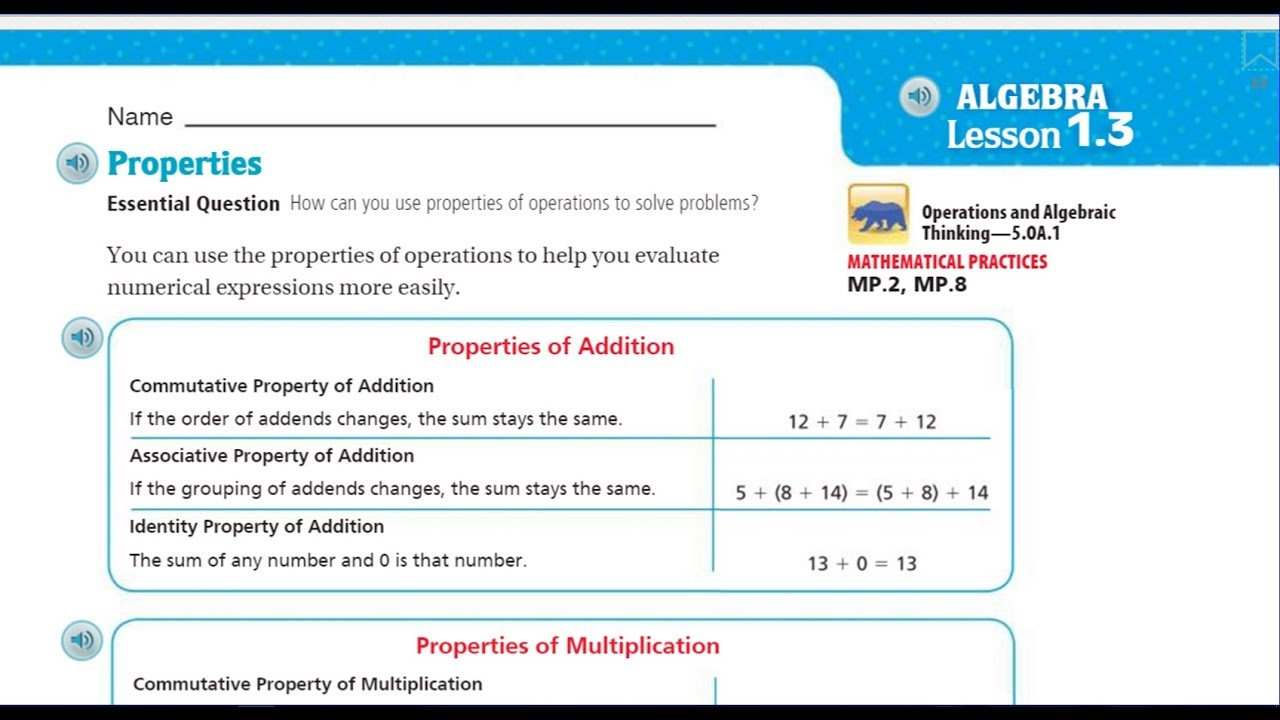 worksheet Properties In Math go math 5th lesson 1 3 properties youtube properties