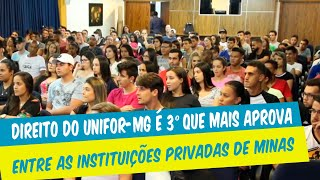 DIREITO DO UNIFOR-MG É O 3º QUE MAIS APROVA ENTRE AS INSTITUIÇÕES PRIVADAS DE MINAS