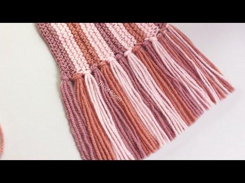 Как связать шарф в продольную полоску (3 цвета) / Вязание спицами.