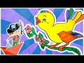 Kids Learning Colors with Cartoon Bird Coloring Pages