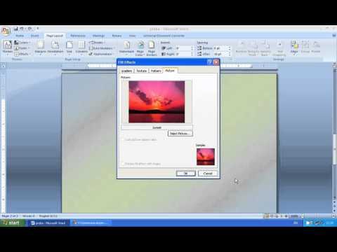 Lekcije Word Kako Staviti Sliku Za Pozadinu Papira Youtube