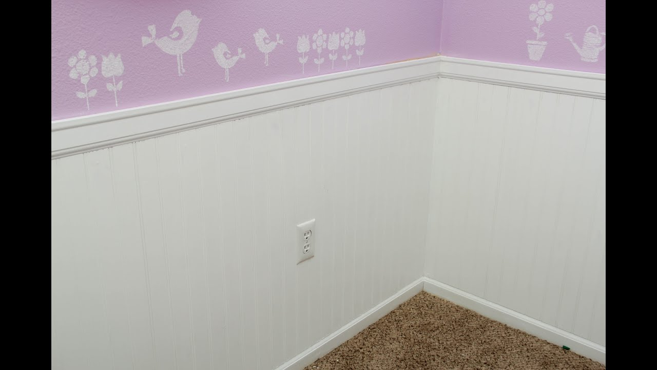 installing wainscoting bead board youtube. Black Bedroom Furniture Sets. Home Design Ideas