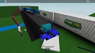 Trains crash into truck with bridge Roblox