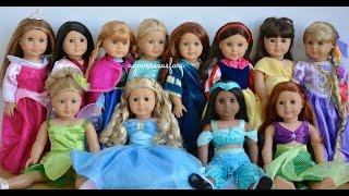 American Girl Doll Disney Princesses ~ Frozen, Cinderella, Ariel, Belle ~ HD WATCH IN HD!