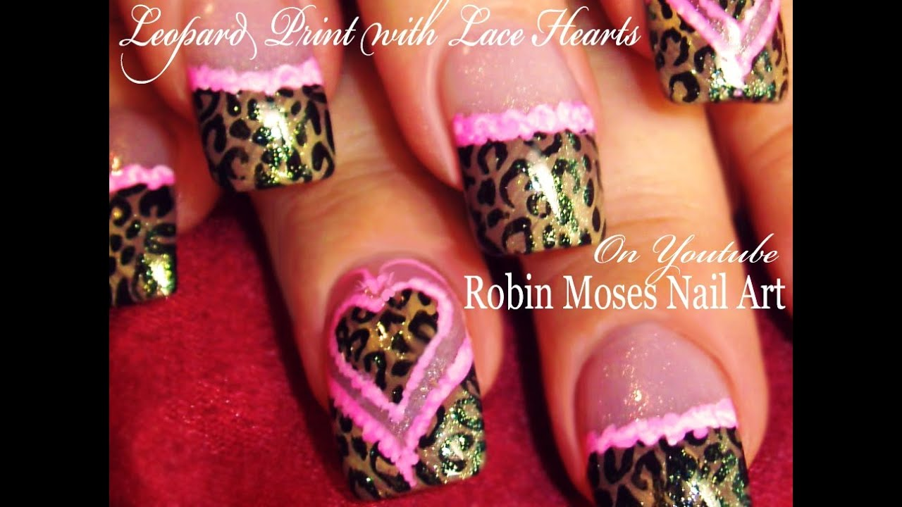 Leopard Print Nails Pink Lace Hearts | Valentine\'s Day Nail Art ...