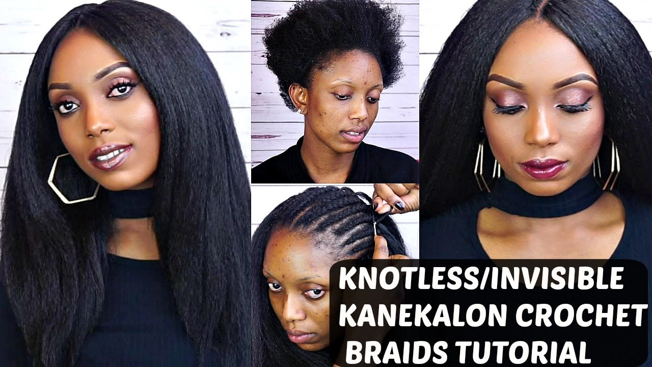Crochet Braids With Kanekalon Hair Tutorial Knotless Invisible Part
