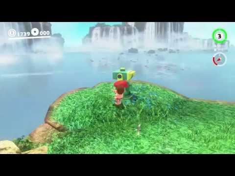 Cascade Kingdom - Moon 25: Sphynx Traveling to the Waterfall - Super Mario Odyssey