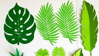 Como hacer hojas tropicales en cartulina/sin moldes super fáciles