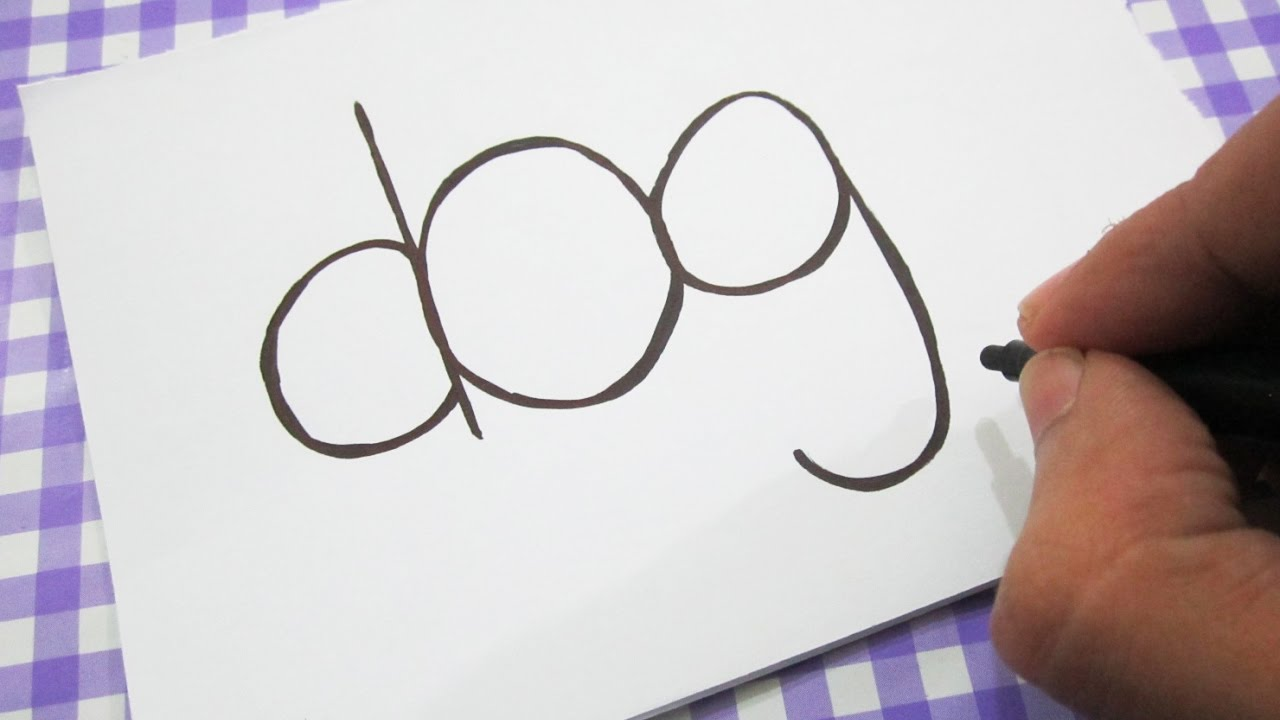 how to turn words dog into a cartoon learn drawing art on paper