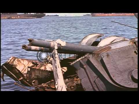 Wreck of Japanese destroyer Okinami, in Coron Bay, Philippines, during World War ...HD Stock Footage