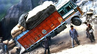 Dangerous Overload Truck Driving in Climbing Steep Hills Extremely Slippery & Crossing River