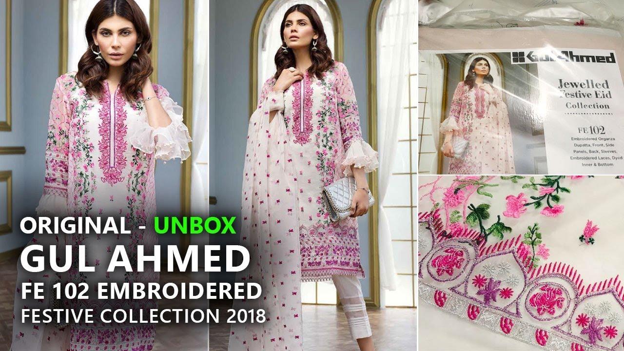7f0c08c957 Gul Ahmed Festive Eid Collection 2018 - Unbox FE-137 White - Pakistani  Dresses 2018