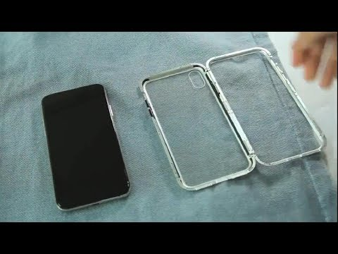 24b7d9325ae Magnetic Adsorption Metal Case for IPhone X 8 7 6 Plus Clear Tempered Glass  + Built-in Magnet Case - YouTube