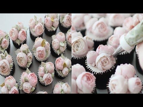 [ENG]How To Make Peony Flower Cupcake 동글작약 플라워컵케이크만들기